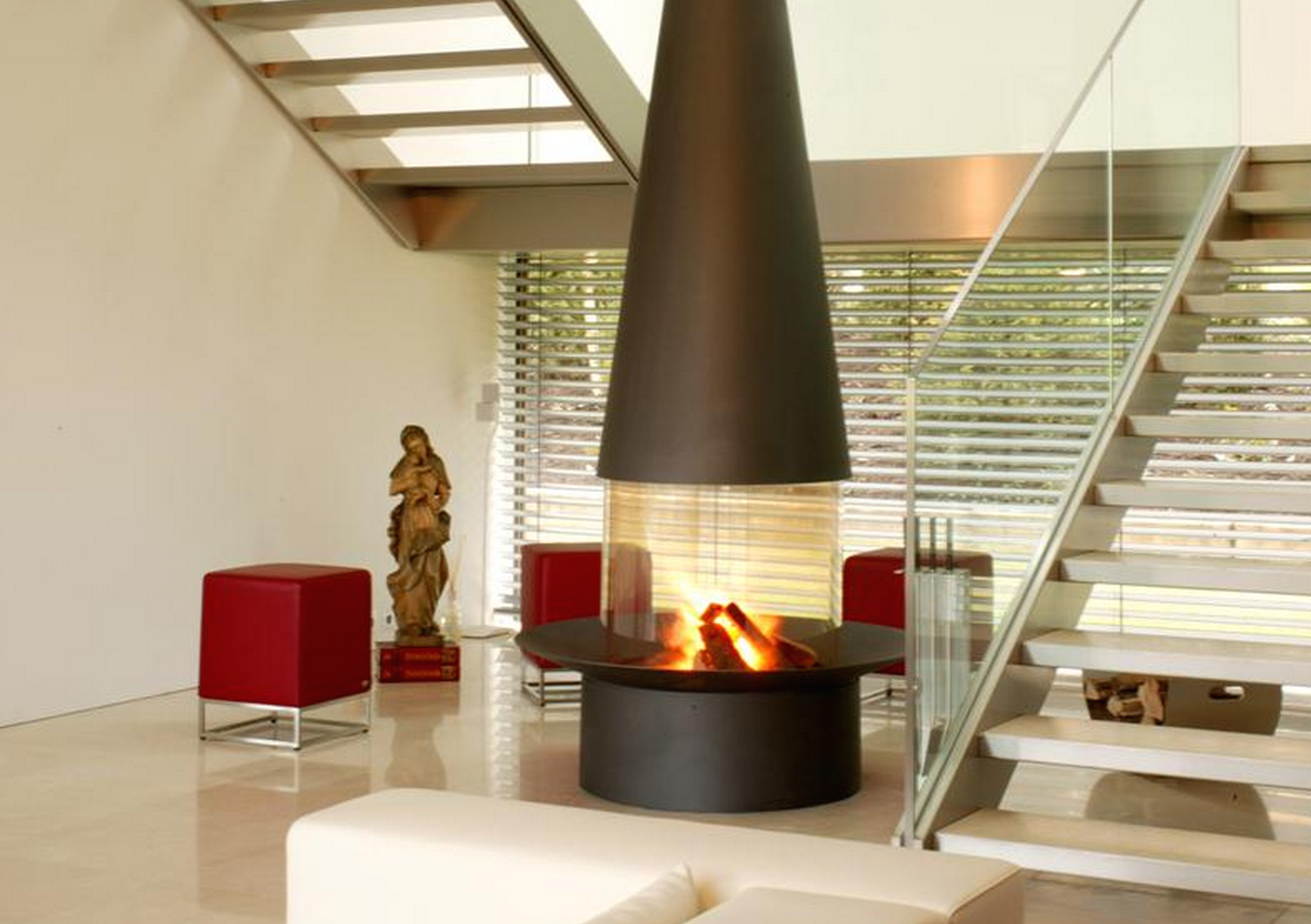 We will have circular natural wood fireplace